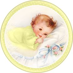 Cute Babies at Bed. Free Printable Cards, Toppers or Labels. | Oh My Fiesta! in english
