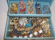 103 pc.  Vintage Estate Jewelry Box Full- Florenza, Coro, Emmons,Napier, 925.... In auction, ebay seller.... plz post and share for this new seller.