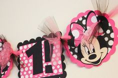 Minnie Mouse HIgh Chair Birthday Banner in by SweetEventsBoutique, $10.00
