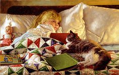 The comfort of a good book along side her cat, Tabby, helped her drift off to dreamland.  Drifting Off by Jim Daly