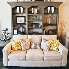 We can custom build a fabulous built-in for your home! We all need more storage space, and these look fantastic! Dining Room Hutch, Storage Spaces, Bookcase, Shelves, Couch, Living Room, Building, Cabinets, Furniture