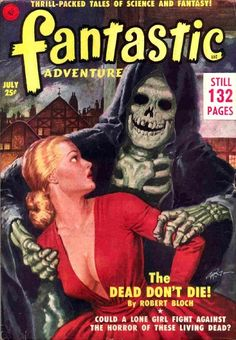 Horror pulp cover maiden death grim reaper Father Time scythe maid girl woman dance danse macabre skull skeleton