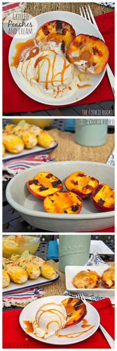 Grilled Peaches and Cream - The Perfect Healthy Dessert for Grilling Season!