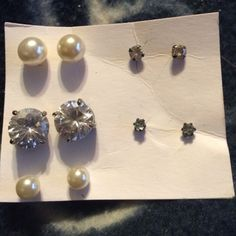Set of 5 pairs of earrings 5 crystal and faux pearl earrings. Will clean with alcohol before sending out. All have backs. Jewelry Earrings