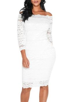 0fbc87f9bf White Lace Scalloped Off Shoulder Midi Dress Preppy Outfits, Classy  Outfits, Scalloped Lace,