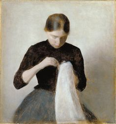 Vilhelm Hammershoi: Young Girl Sewing by deflam, via Flickr
