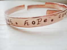 Faith Hope Courage Copper Handstamped bangle by Lolasjewels, $12.00