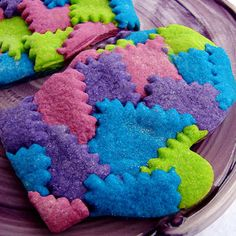 Cute patchwork looking mitten cookies would be lalalovely at a Mittens Fluff n Stuff Lalaloopsy party!