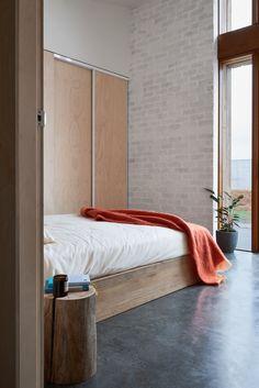 The Sociable Weaver · 10 Star Home — The Design Files Bedroom Wardrobe, Two Bedroom, Bedroom Decor, Guest Bedrooms, Industrial Bedroom, Industrial Metal, Industrial Design, Brick Wall Bedroom, Brick Walls