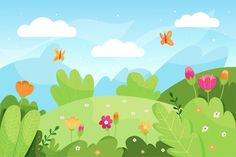 Cool Powerpoint Backgrounds, Background Powerpoint, Backgrounds Free, Flower Backgrounds, Landscape Background, Animation Background, Art Background, Flower Mural, Birds In The Sky