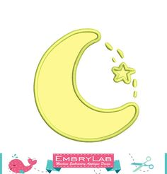 Machine Embroidery Applique Design Mini Nice Moon And Star (15058)