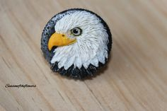 Eagle ring, Oversize ring, Polymer clay jewelry, Perfect gift for her, Eagle portrait jewelry, Adjustable bird ring, Everyday jewelry