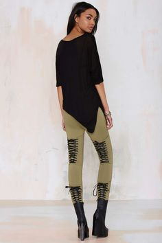 Nasty Gal Tie's the Limit Knit Leggings - Olive