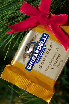 Deck the halls in chocolate! Our beautiful Ghirardelli SQUARES are more than just a beautiful addition to your holiday candy dish. A simple hole punch & a festive bow turn them into gorgeous edible ornaments.