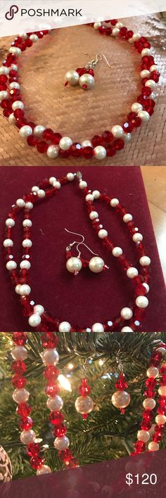 Jewelry set- necklace and earrings Gorgeous pearls and red beds, made f on Swarovski elements Natali V Design Jewelry Necklaces