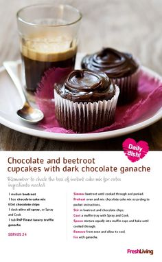 SWEET TREAT: Shower your sweetest of hearts with gifts, flowers and delectable chocolate and beetroot ganache cupcakes on 14 Feb! Top 'em with Lindt Lindor choccies - now on special! Chocolate Cake Mixes, Chocolate Ganache, Chocolate Recipes, Cake Mix Cupcakes, Tasty, Yummy Food, Delicious Recipes, Take The Cake, Recipe Search