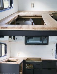 Looking for an affordable way to update your kitchen counters? Check out this post on how to Create Wood Counters from Flooring in a RV! Danny Wood, Rangement Caravaning, Glamping, Do It Yourself Camper, Rv Redo, Trailer Remodel, Rv Trailer, Bus Remodel, Camper Trailers