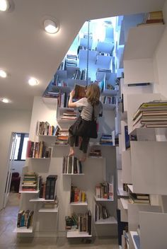 Interesting home library..you need to climb! :)