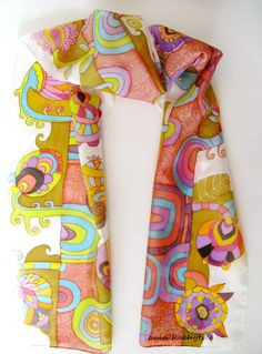Hand painted silk scarf...There is a sweet innocence about this.