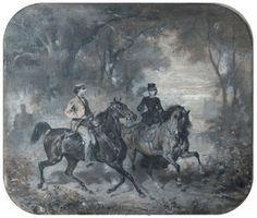 Empress Sisi and King Ludwig II on horseback.