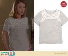 Emma's grey leaf top on Glee. Outfit Details: http://wornontv.net/28022 #Glee #fashion