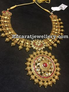 22 carat gold antique work broad necklace, Nakshi work balls attached all over the bottom. Two step kundan work sun flower pendant Antique Necklace, Antique Jewelry, Antique Gold, Gold Jewellery Design, Gold Jewelry, Delicate Jewelry, Statement Jewelry, Gold Accessories, Temple Jewellery