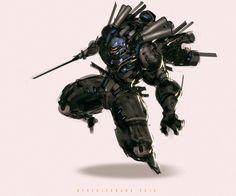 Zen Heavy Flight Assault Mode, Benedick Bana on ArtStation at https://www.artstation.com/artwork/xOr1Y