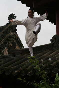 Playing Tai Chi on rooftop ( Qi Gong, Different Martial Arts, Tang Soo Do, Tai Chi Qigong, Chinese Martial Arts, Les Religions, Traditional Chinese Medicine, Aikido, Kung Fu