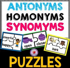 Synonyms, Antonyms and Homonyms Puzzles from LidonBeltran from LidonBeltran on TeachersNotebook.com (25 pages)  - This pack of puzzles gives students practice with matching synonyms, antonyms and homonyms and pictures.