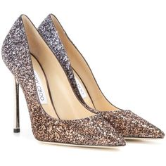 Jimmy Choo Romy 110 Glitter Pumps (24.180 RUB) ❤ liked on Polyvore featuring shoes, pumps, brown, bronze pumps, glitter shoes, jimmy choo, glitter pumps and jimmy choo shoes