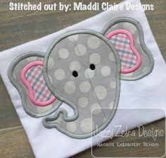 Elephant Applique Design by JazzyZebraDesigns on Etsy