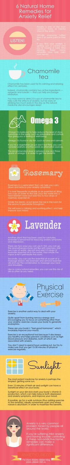 6 Natural Home Remedies for Anxiety Relief Infographic #anxiety #NaturalInsomniaCures