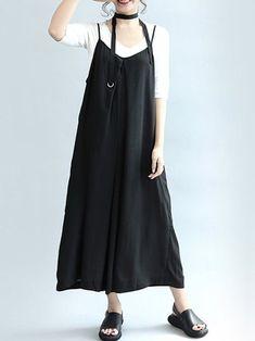 23cdde4da08 S-5XL Casual Women Black Sleeveless Wide Leg Jumpsuits Casual Dresses For  Women