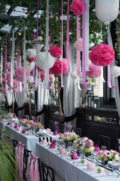 A Garden Inspired Bridal Shower in NYC at Gramercy Park Hotel Terrace with Black and White Stripes + Pink
