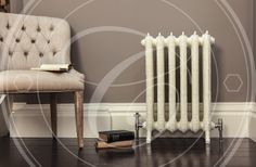 King 768mm finished in Pointing with Chatsworth Satin Nickel Thermostatic Radiator Valves.