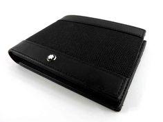 Montblanc Meisterstuck Canvas Wallet 6CC - Black Leather - 109613 - MarteModena
