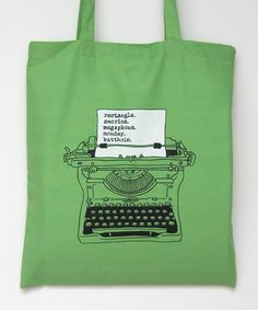 Geek Tote Bag Screenprint Ron Swanson Typewriter by UrbanPrey
