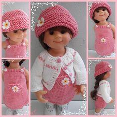 Fiche tricot pour poupées Wichtel (32cm) ou tout autres poupées de même gabarit La fiche Lilly comprend : une robe à bretelles, un gilet et un chapeau Aiguilles 3 et 3 1/2   - 19067983