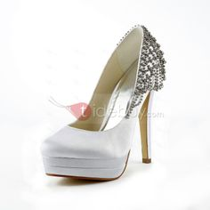 Fashion Satin Stiletto Heels Closed-toe Wedding Shoes : Tidebuy.com
