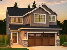 Eplans House Plan: A combination of fiber-cement clapboard and shingle siding, as well as stone details, deliver stylish durability. This traditional, zero lot line plan conserves space and is perfect for narrow city lots, b