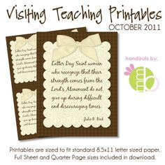 Printable for the Visiting Teaching message each month! Also printables for quotes and other LDS stuff.