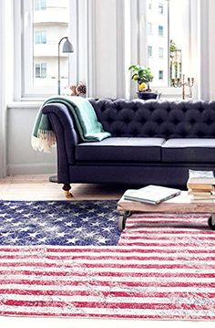 Ecarpetgallery Novelty Stars And Stripes Picture Design X Red Living Room Dining Arearug