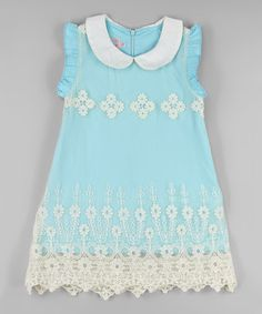 Love this Turquoise & White Lace Flower Dress - Toddler & Girls by Blossom Couture on #zulily! #zulilyfinds