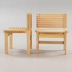 A set of six Gunnar Aagaard Andersen bamboo 'Lamella chairs', for MatzForm. Maker's mark