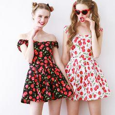 Lovely kawaii sweet cherry strapless sleeveless dress
