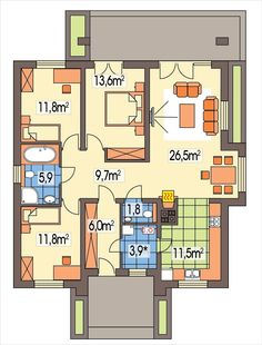 Kliknij aby zamknąć, kliknij i przeciągnij aby przesunąć. Użyj klawiszy strzałek aby zmieniać obrazki. Floor Plans, Architecture, House, Arquitetura, Home, Architecture Design, Homes, Floor Plan Drawing, Houses