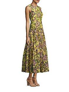 RED Valentino Floral-Print Drop-Waist Midi Dress