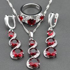 Red Garnet White Zircon 925 Silver Long Drop Earrings/Pendant/Necklace/Ring Jewelry Sets For Women //Price: $32.89 & FREE Shipping //     #istylemyway #fashion