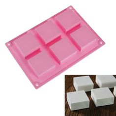 Longzang Craft 6 Cavity Square Silicone Soap Mold for Cake Chocolate Ice Tray Panna Cotta Pudding Jello Shot Candy baking (xj298) ** Click image to review more details.