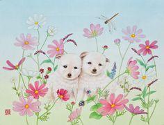 """Youngmi Jeon, """"코스모스우정""""(2012)_비단에 채색(painting on silk)"""